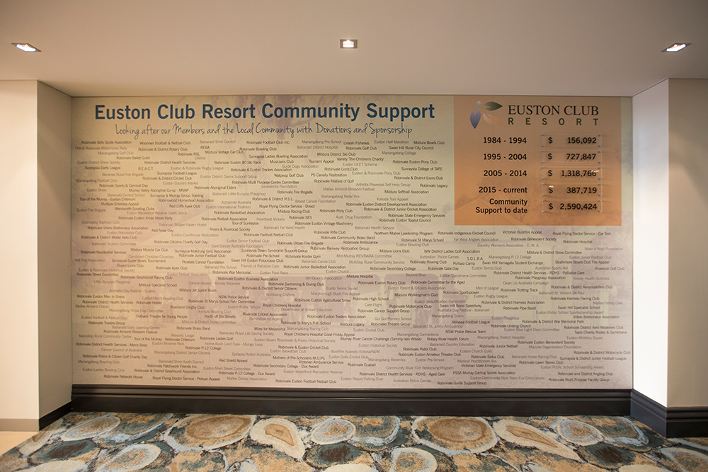 Euston Club Community Support and Donations wall